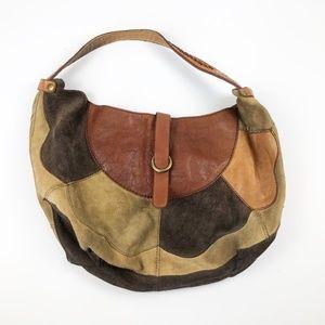 Lucky Brand Stash Leather Hobo Boho Patchwork Bag